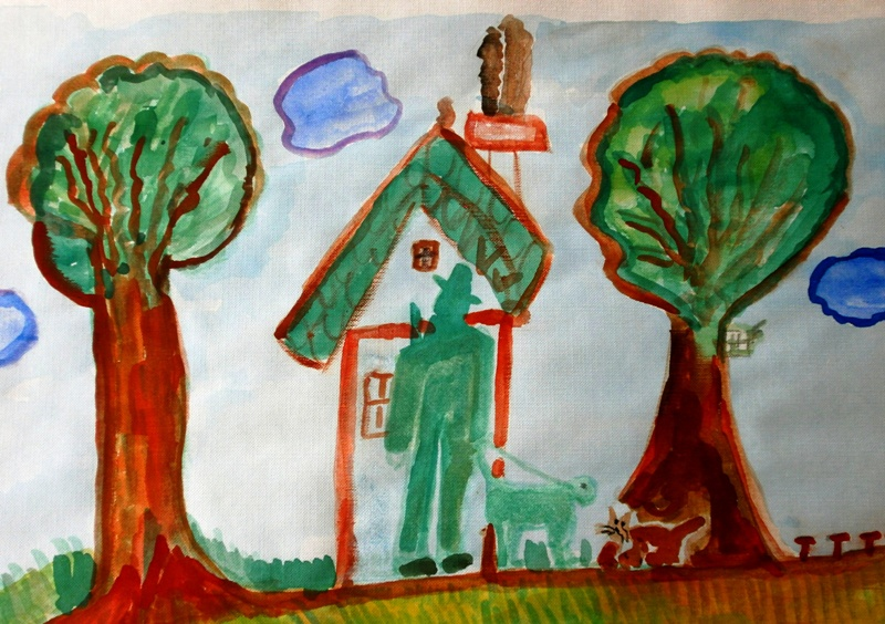 Bild mit Förster vor seinem Haus